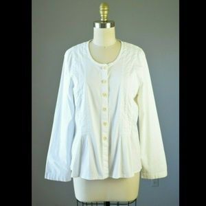 Flax Brand White Cotton Seamed Button Down Top